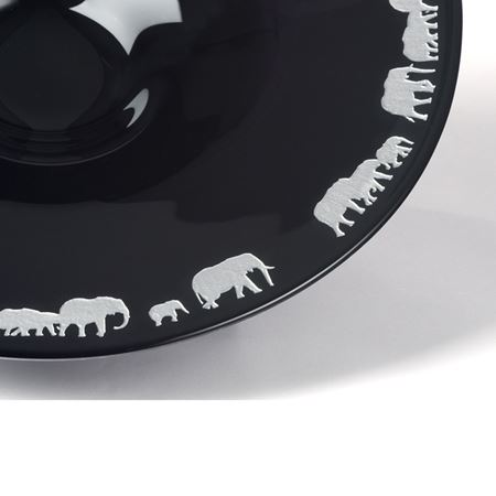 Black Crystal Elephant Bowl