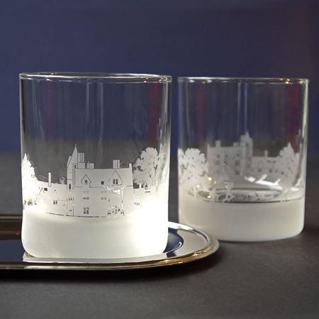 Brambletye School Skyline Etched Glass Tumblers