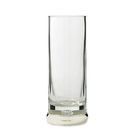 Crystal Cylinder Vase with Sterling Silver Foot