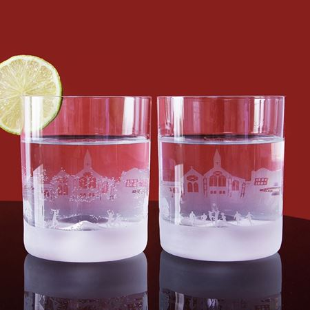 Harrow School Skyline Etched Glass Tumblers