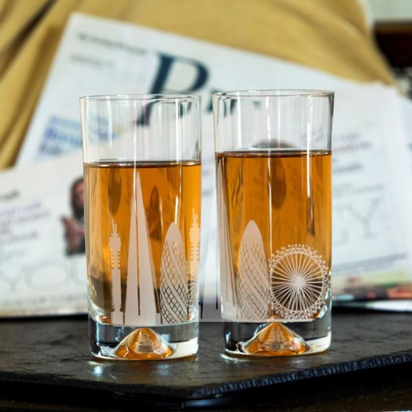 London Etched Glass Highball