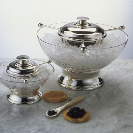 Mayfield Crystal and Silver Footed Caviar Set