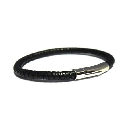 Picture of Mens Black Leather Bracelet