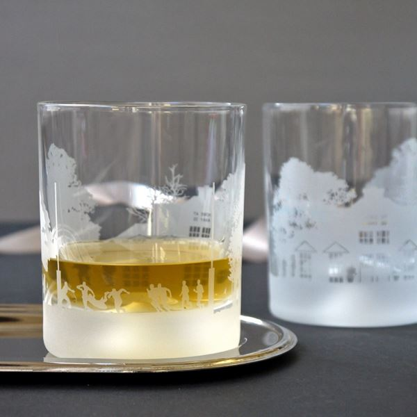 Rugby Scene Etched Glass Tumbler