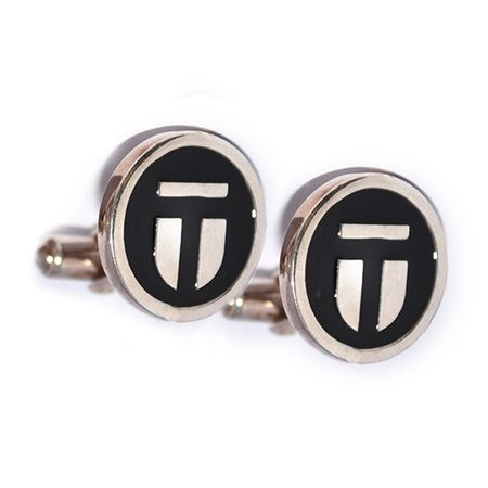 Silver and Black Enamel Wingback Cufflinks