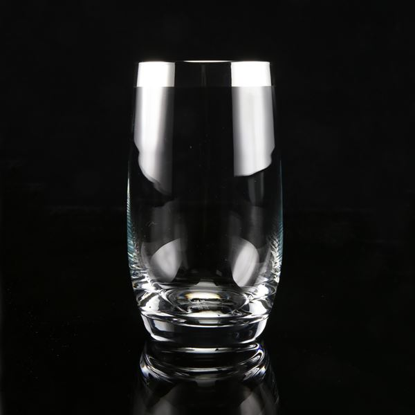 Silver trim Curved Water Glass