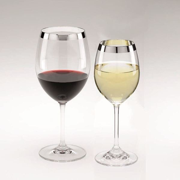 Silver trim Curved Red Wine Glass