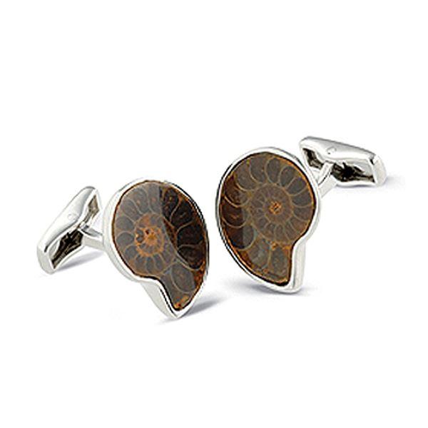 Sterling Silver Ammonite Cufflinks