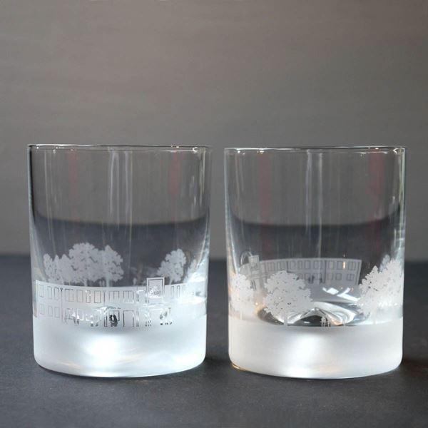 The Rise School Skyline Etched Glass Tumblers