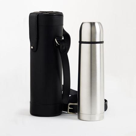 Thermos in Leather Holder with Suede Lining