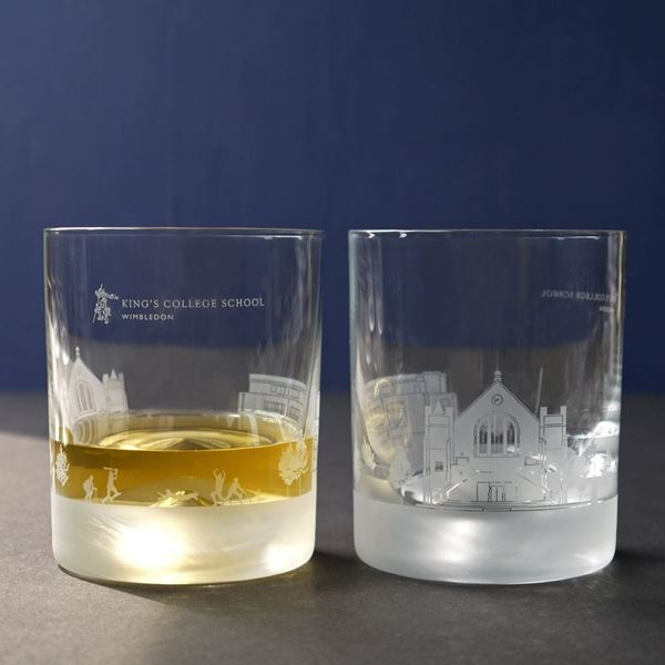 King's College School Skyline Etched Glass Tumblers