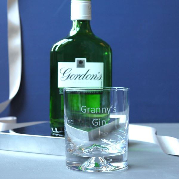 Granny's Gin Etched Glass Tumbler