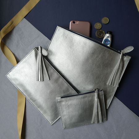 Silver and Navy Leather Clutch