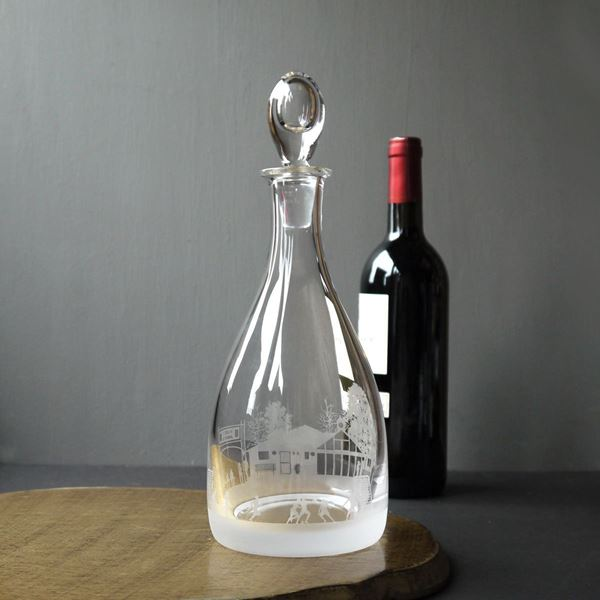 Football Scene Etched Crystal Decanter