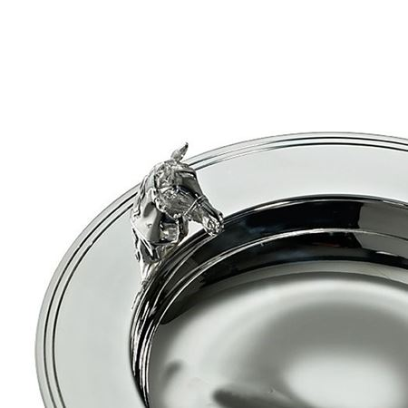 Silver Plate Alms Dish with Horse's Head