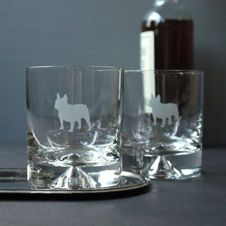 French Bulldog Etched Glass Tumbler
