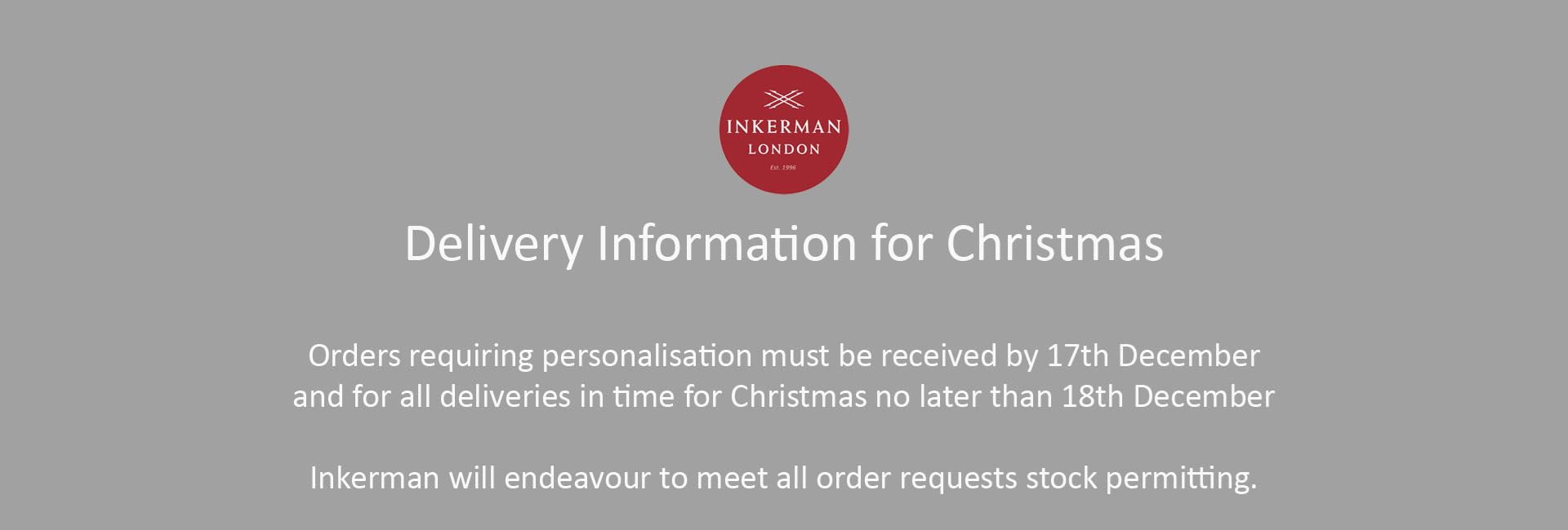 Delivery Information for Christmas
