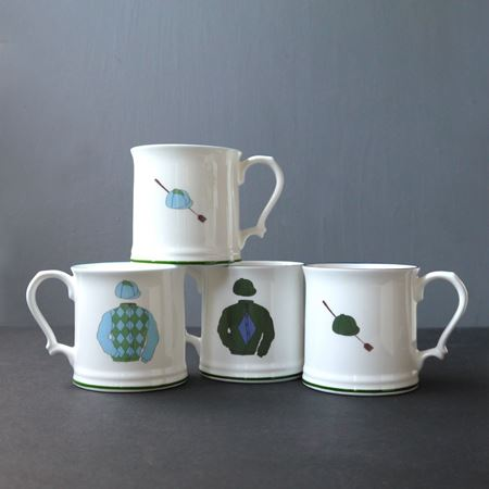 English Bone China Racing Colour Mug Set