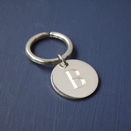 Sterling Silver Initial Keyring
