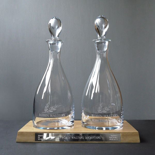 Teardrop Decanters on a Wooden Plinth