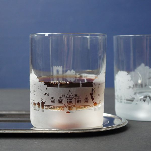 Cundall Manor School Skyline Etched Glass Tumblers
