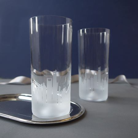 A Pair of Shanghai Skyline Etched Glass Tumbler
