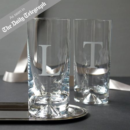 Initial Etched Glass Tumbler