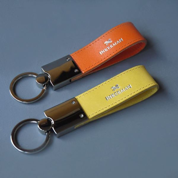 Leather and Chrome Keyrings