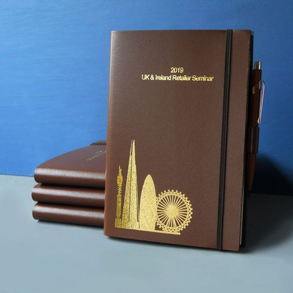 Brown Leather Notebook with Skyline