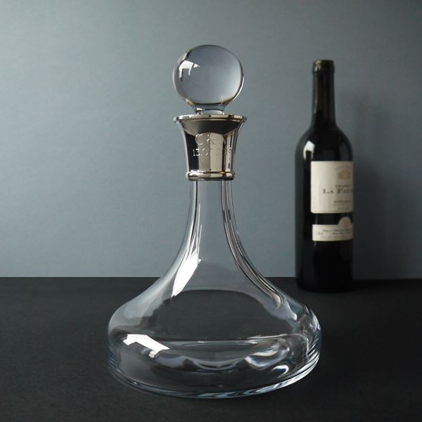 Crystal Admiral Ship's Decanter with Sterling Silver Neck