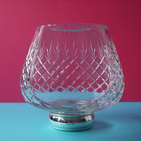 Cranbrook Cut Glass Rose Bowl with Silver Foot