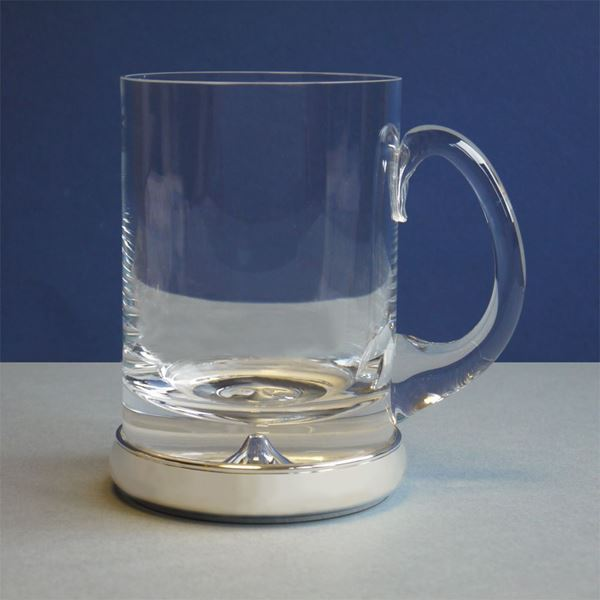 Crystal Pint Tankard with sterling silver base