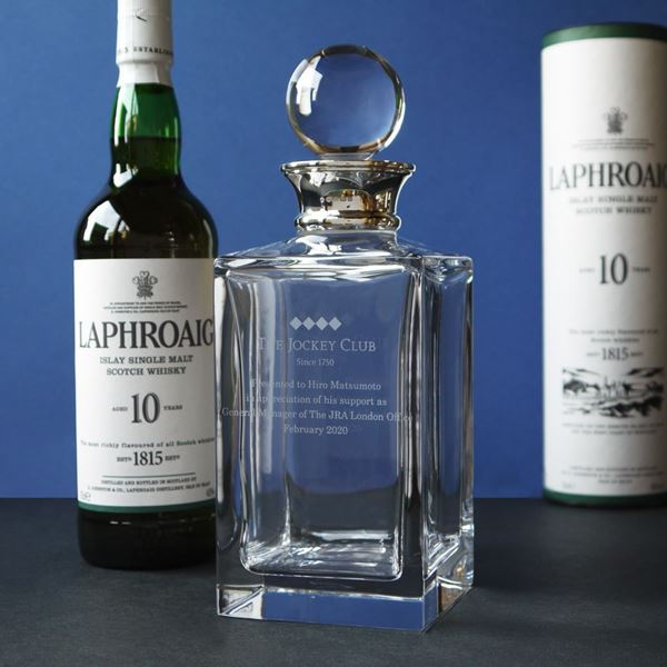 Crystal Square Decanter with Sterling Silver Neck
