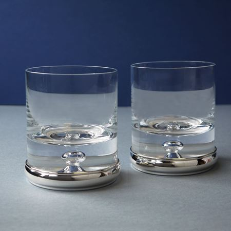 Picture of A Pair of Crystal Glass Tumblers with Sterling Silver Base