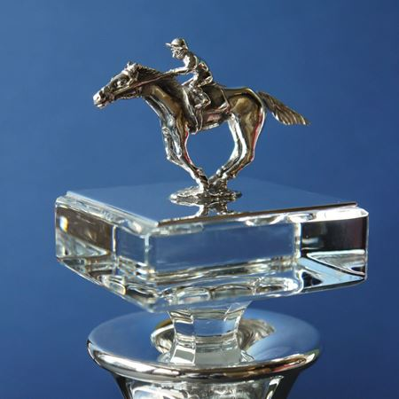 Horse and Jockey Crystal Square Decanter