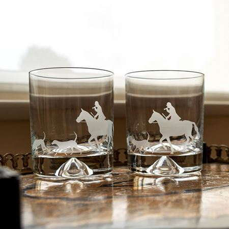 Picture of A pair of Horse & Hound Hunting Scene Etched Tumblers