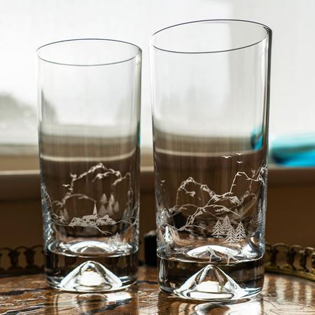 Skiing Scene Etched Glass Tumbler