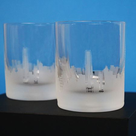 Hong Kong Skyline Etched Glass Tumbler