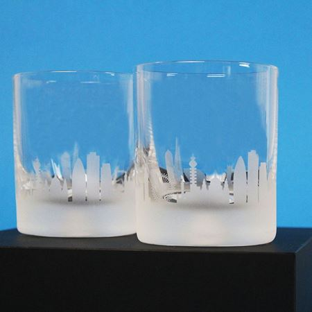 London Skyline Etched Glass Tumbler