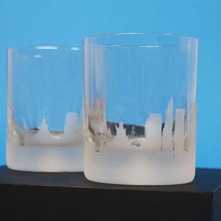 Moscow Skyline Etched Glass Tumblers