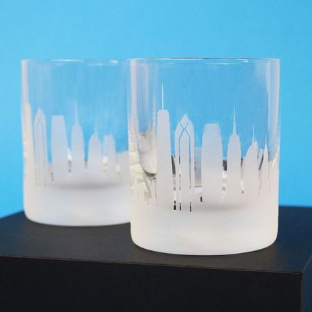 A Pair of New York City Skyline Etched Tumblers