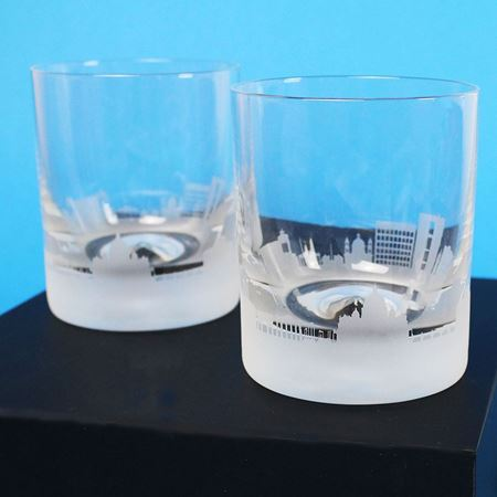 A Pair of Rome Skyline Etched Tumblers