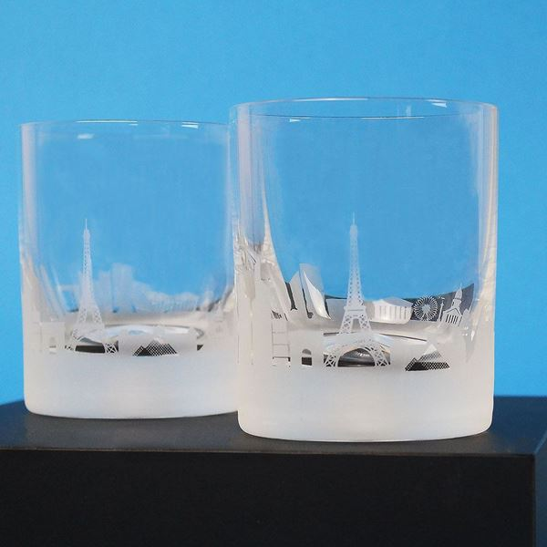 A Pair of Paris skyline Etched Tumblers