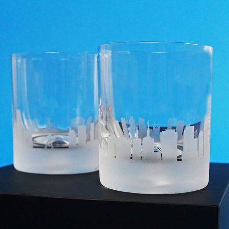A Pair of Sao Paulo Skyline Etched Tumblers