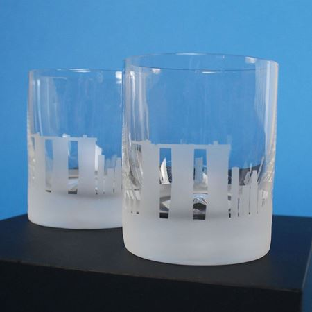 A Pair of Singapore Etched Skyline Tumblers