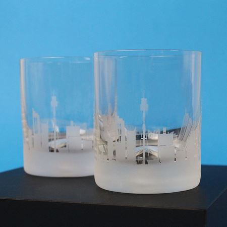 A Pair of Sydney Skyline Etched Glass Tumblers