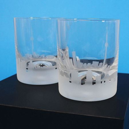 A Pair of Toronto Skyline Etched Tumbler