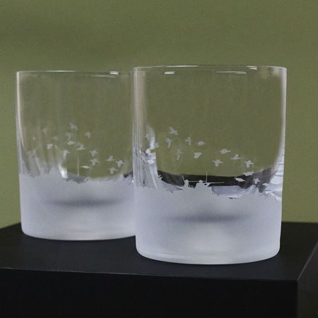 Grouse Shooting Scene Etched Glass Tumbler