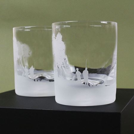Fishing Scene Etched Glass Tumbler