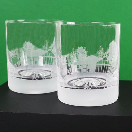 Football Scene Etched Glass Tumbler